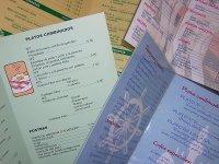 4 cartas de menu de restaurante
